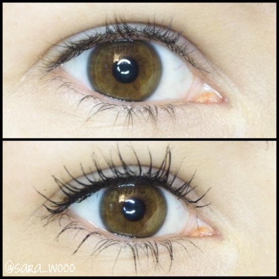 Oben: Wimpern ungeschminkt. Unten: Wimpern mit Mascara und leichter Wimpernverdichtung